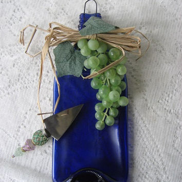 Colalt Blue Melted Wine Bottle Wall Hanging home decor or serving cheese Wire Wall hanging guards on bottom cheese knife included