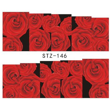 1Sheets NEW Fashion Women Nail Art Sticker Tattoos Water Transfer Full Red Rose Beauty Decals Wraps Manicure Tools STZ146