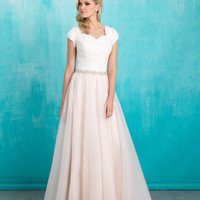 Allure Modest M550 Soft Lace and Tulle Wedding Dress