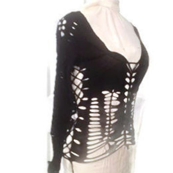 Black Reconstructed cut up, tied, weaved, shredded, revamped t-shirt, top long sleeved