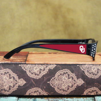 Oklahoma Sooners Womens Reading Glasses with Crystals