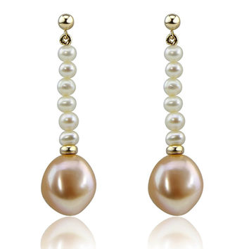 14K Yellow Gold 4-5mm white,11-12 mm Pink Baroque Freshwater Cultured Pearl dangle Earring