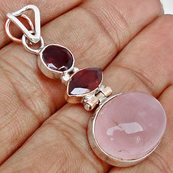 Vintage Victorian Pink Rose Quartz and Garnets Gemstone 925 Silver Pendant Jewelry