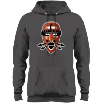 Tribal Warrior Mask Port & Co. Core Fleece Pullover Hoodie