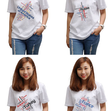 Women Maps of Countries Printed V-Neck Short Sleeves T-shirt WTS_16