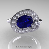 Art Nouveau 14K White Gold Oval 1.0 Ct Royal Blue Sapphire Diamond Nature Inspired Engagement Ring R296A-14KWGDBS
