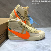 HCXXN672 Off White x Nike Blazer High All Hallows Eve Skate Shoes Maroon Orange