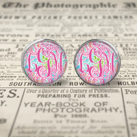 Lilly Pulitzer Inspired  Monogram Glass Earrings, Let's Cha Cha Monogram Earrings, Silver Monogram Earrings, Lilly Let's Cha Cha Pink