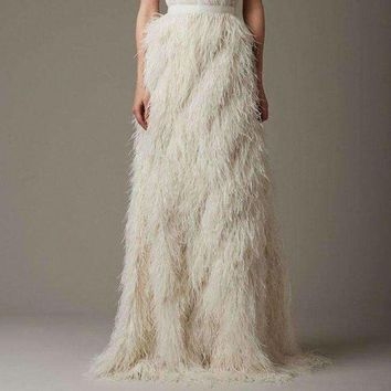DCCKON3 long evening party ostrich feather skirts high end  saias faldas chic floor length straight skirt custom made