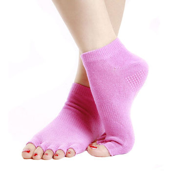 Pink Non Slip Half Toe Yoga Socks Strong Grip Toeless Socks Cotton
