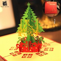 Merry Christmas Tree Vintage 3D laser cut pop up paper handmade custom greeting cards Christmas gifts souvenirs postcards