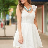Poise And Lace Dress, Cream