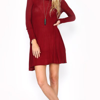 CLASSIC SMOCKED TURTLENECK SWING DRESS - BURGUNDY