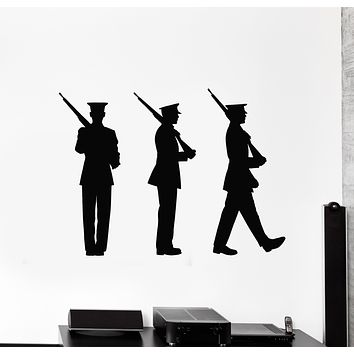 Vinyl Wall Decal Patriotic Art Silhouette American Soldiers Military Decor Stickers Mural (g526)