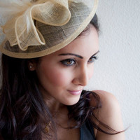 PENNY Gold Mesh Royal Hat Feather Fascinator Headband for Weddings, Derbys, and Special Occasions