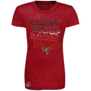 Tampa Bay Buccaneers Youth Girls Four Cheers Burnout T-Shirt - Red - http://www.shareasale.com/m-pr.cfm?merchantID=7124&userID=1042934&productID=525391753 / Tampa Bay Buccaneers