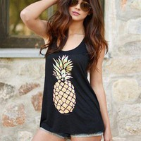 Fashion Pineapple Print Sleeveless Shirt Blouse Tops