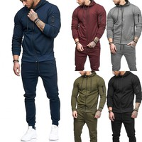 Men Tracksuit Set Hoodies Sweatshirt Slim Fit Harem Pants Jogger Sportswear Suit