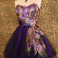PURPLE PEACOCK PROM COCKTAIL EVENING MARDI GRAS PAGEANT SHORT GOWN DRESS M 6/8