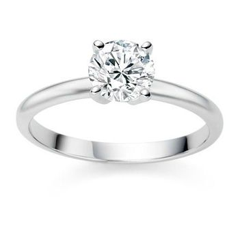 .925 Sterling Silver 1 Carat Solitaire Engagement Ring Size 4-10
