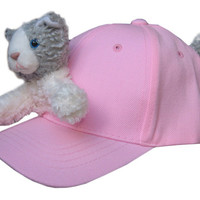 Cat on Pink Baseball Cap