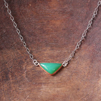 v e r d e // chrysoprase gemstone triangle geometric necklace // handmade copper bezel setting // recycled sterling silver oxidized chain