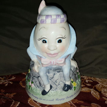 1995 Humpty Dumpty Ceramic Coin Bank by Markings Checkerboard Press, Collectible Coin Banks, Kids Coin Bank
