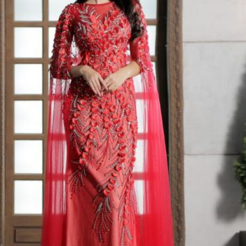 Vintage Red Evening Dresses Scoop Neck With Jacket Crystal Beading Tulle Floor-Length Prom Party Gowns