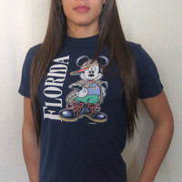 Vintage Awesome 80s MICKEY MOUSE FLORIDA Hip Hop Retro Women Small Disney T-Shirt