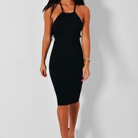 Marla Black Textured Bodycon Midi Dress | Pink Boutique