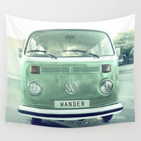 Vintage Wander wolkswagen. Summer dreams. Green Wall Tapestry by Guido Montañés
