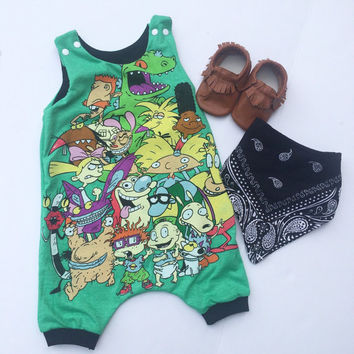 9/12 month 90's nickelodeon harem shortie romper ready to ship