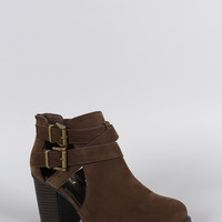Soda Nubuck Cutout Buckle Strap Ankle Bootie