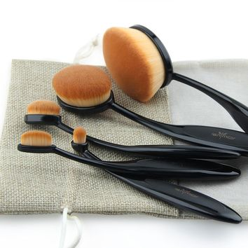 (Promo Free W/Shipping) Oval Makeup Brush Set 5 pcs Foundation Eyeshadow Contour Highlighter Toothbrush Face Blush Eye Lip Cosmetic Brushes Kit