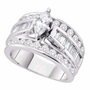 14kt White Gold Womens Marquise Diamond Solitaire Bridal Wedding Engagement Ring 2.00 Cttw