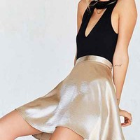 Silence + Noise Satin Shine Mini Skater Skirt - Urban Outfitters