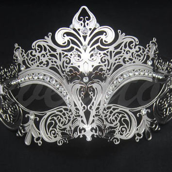 Luxury Silver Laser Cut Venetian Mardi Gras Masquerade Mask Ball - Made with Light Metal