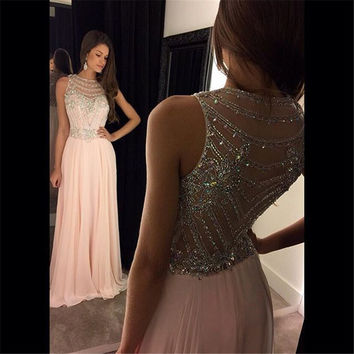 Elegant 2016 New Long Chiffon Sleeveless Straight Evening Party Homecoming Evening Dress vestido de festa robe de soiree