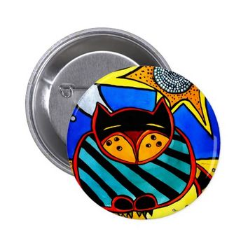 Sun And Moon Colorful Cat Design Button