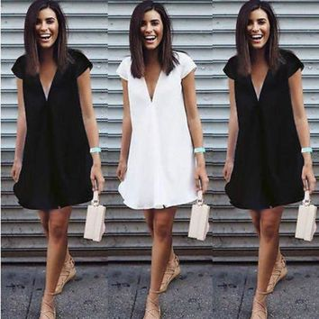 LMFOK8 Sexy Women Summer Deep V-Neck  Dresses Casual Plus Size  Short Mini Black Dress New 2016