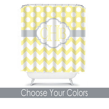 SHOWER CURTAIN Custom MONOGRAM Personalized Bathroom Decor Chevron Polka Dot Yellow Gray Bath Colors Beach Towel Plush Bath Mat Made in Usa