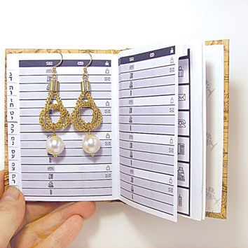 Knot earrings with white pearl Crochet wire gold tube Handmade Israeli jewelry