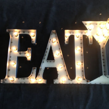 Industrial lighting Eat martini glass sign