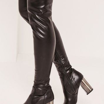 Missguided - Black Bone Heel Over The Knee Boots