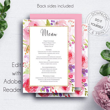 Floral Wedding Menu Template, Rose, Blush, Menu Card, Menu Printable, Dinner Menu, Floral Menu, Table Decorations, Elegant Menu, Reception