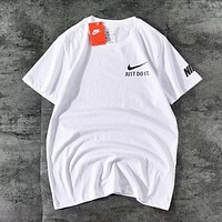 NIKE Just do it New fashion hook print couple top t-shirt White