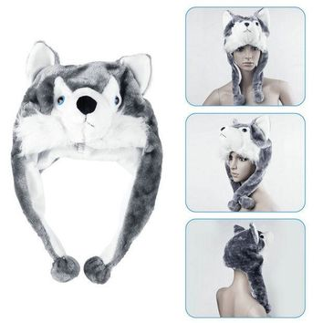 ESBONJ Cartoon Animal style Hood Wolf Hat Hoods Beanies Cute Fluffy kids Caps Soft Warm Scarf Earmuff Plush Huskies Hats 2016 Hot Sale
