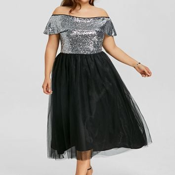 Gamiss Women Fashions Plus Size 5XL Off The Shoulder Sequins Midi Dress Cocktail Wear A Line Elegant Party Dresses Vestidos Robe