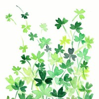 Clover Field Digital print of original watercolor painting , abstract clovers meadow, Shamrock, St Patrick's day, luck of the Irtish
