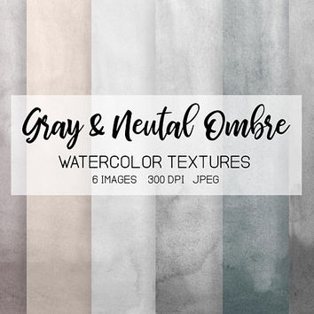 Gray Watercolor Ombre Digital Paper. Handpainted Beige, Gray Watercolor Textures. Grey Watercolor Logo, Wedding Invitation, Card Background